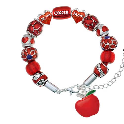 silvertone large red apple red mom bead bracelet