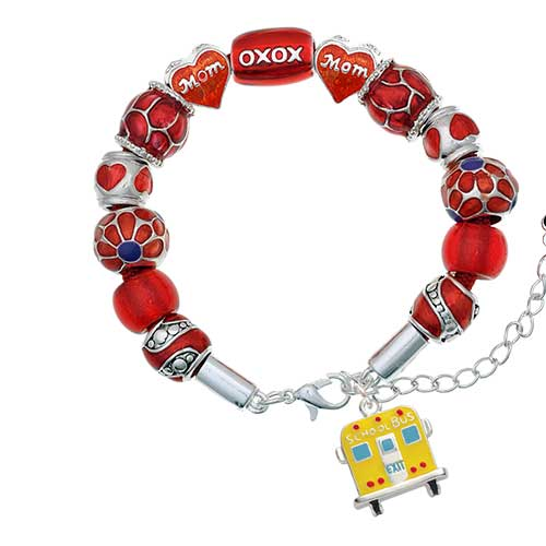 silvertone back of school bus red mom bead bracelet