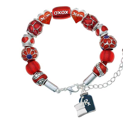 blue prescription bottle red mom bead bracelet
