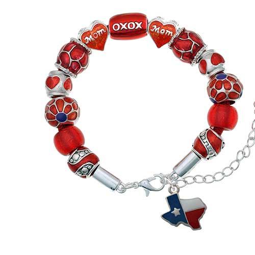 silvertone enamel lone star texas red mom bead bracelet