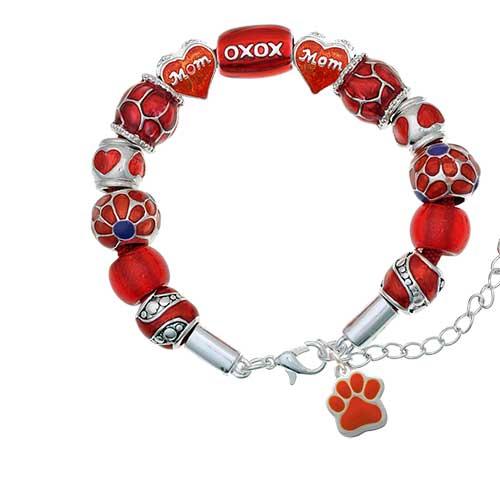 silvertone small orange paw red mom bead bracelet