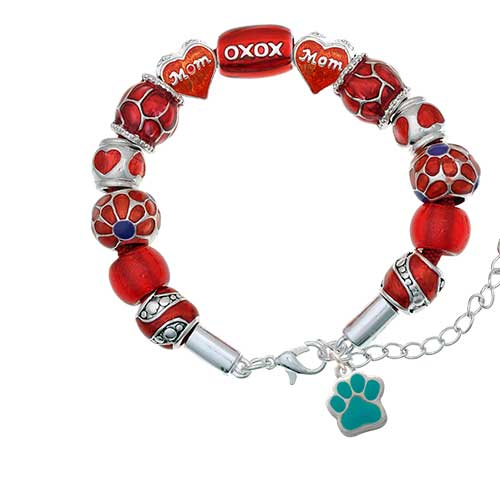 silvertone small teal paw red mom bead bracelet
