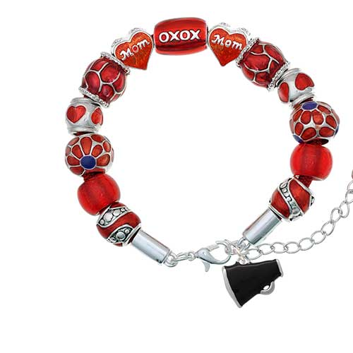 silvertone small black megaphone red mom bead bracelet