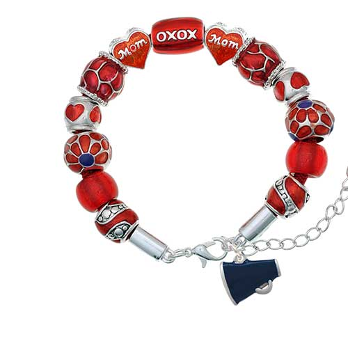 silvertone small navy blue megaphone red mom bead bracelet