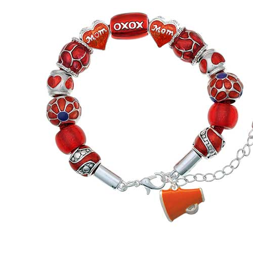 silvertone small orange megaphone red mom bead bracelet