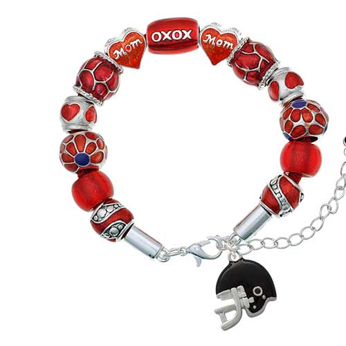silvertone small black football helmet red mom bead bracelet