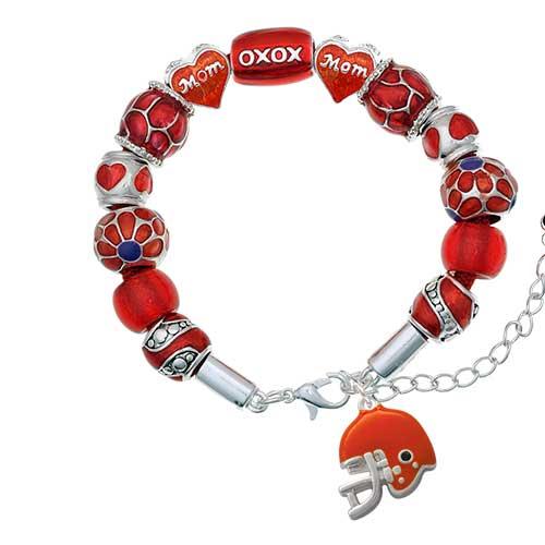 silvertone small orange football helmet red mom bead bracelet