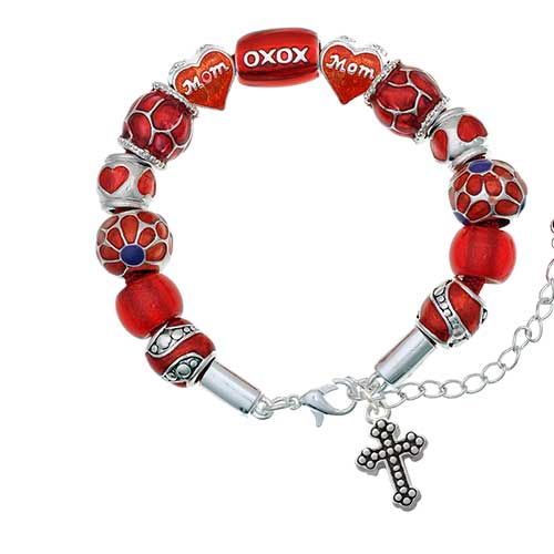 silvertone small botonee cross with beaded decoration red mom bead bracelet