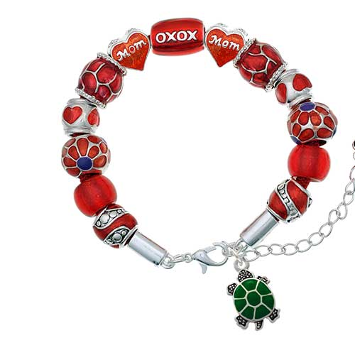 silvertone green top turtle red mom bead bracelet
