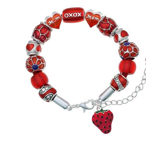 silvertone large enamel strawberry red mom bead bracelet