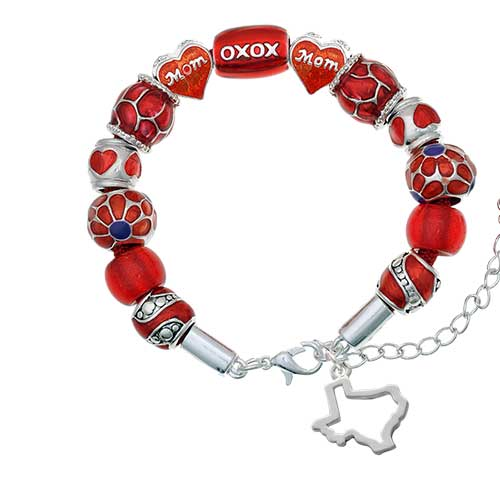 silvertone texas outline red mom bead bracelet