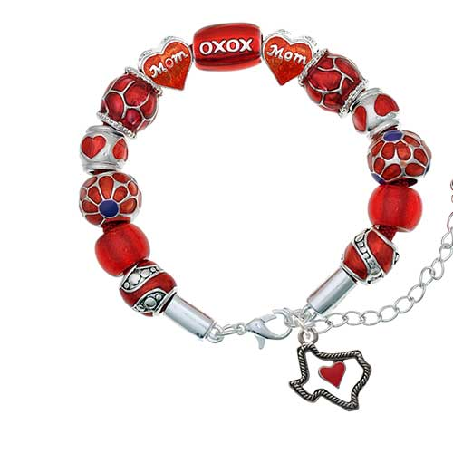 silvertone open rope texas with red heart red mom bead bracelet