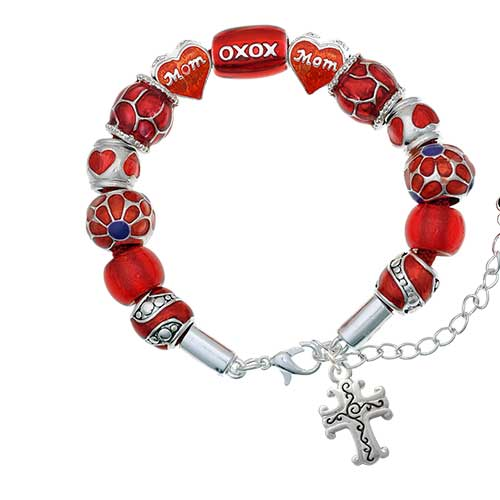silvertone scroll cross with antiqued decoration red mom bead bracelet