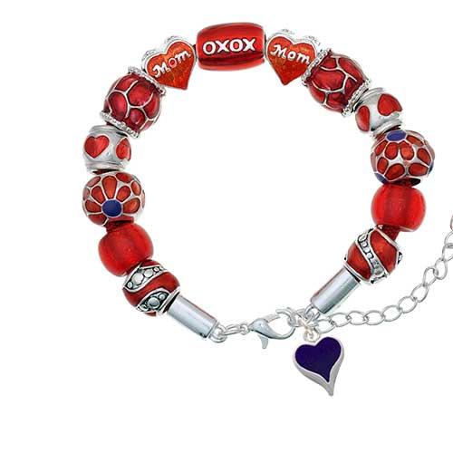 silvertone small long purple heart red mom bead bracelet