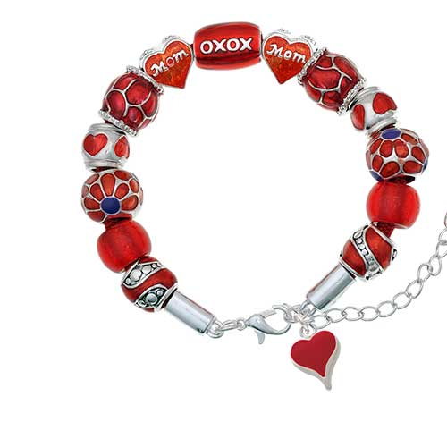 silvertone small long red heart red mom bead bracelet