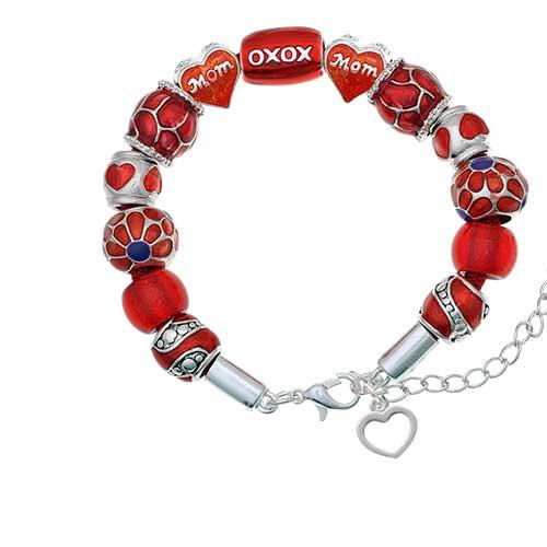 silvertone mini outline heart red mom bead bracelet