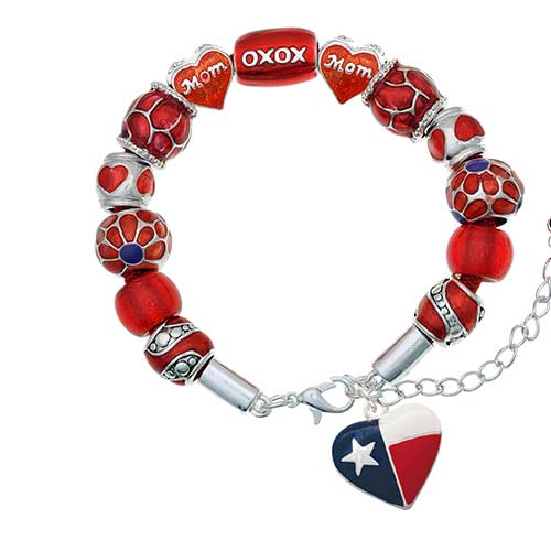 silvertone texas lone star heart red mom bead bracelet
