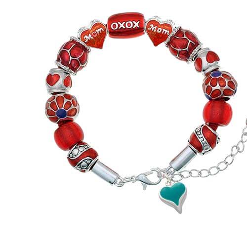 silvertone small long teal heart red mom bead bracelet
