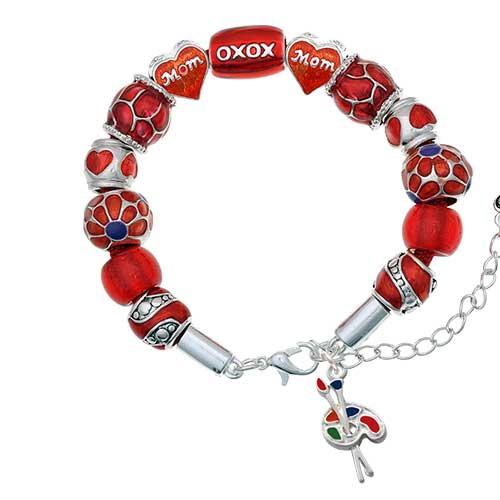 silvertone paint palette red mom bead bracelet