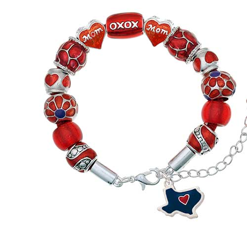 silvertone blue texas with red heart red mom bead bracelet