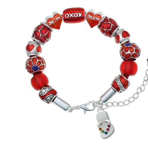 silvertone multicolored crystal flip flop red mom bead bracelet