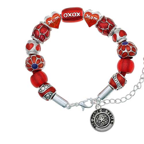 silvertone texas state seal red mom bead bracelet
