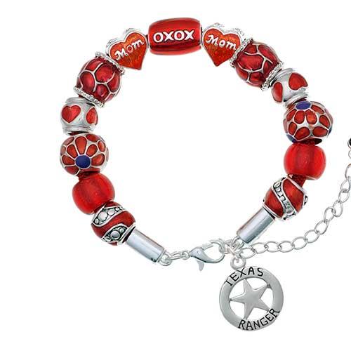 silvertone texas ranger badge red mom bead bracelet