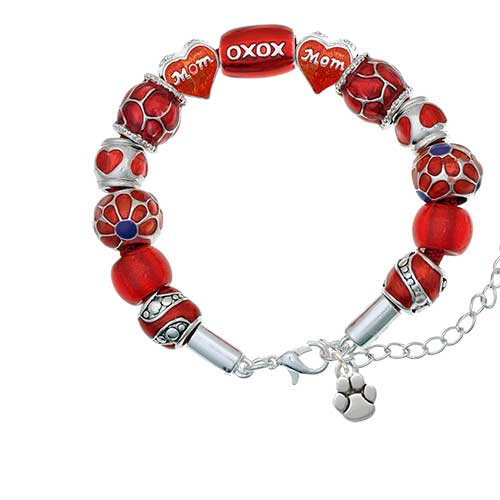 silvertone mini rounded paw red mom bead bracelet