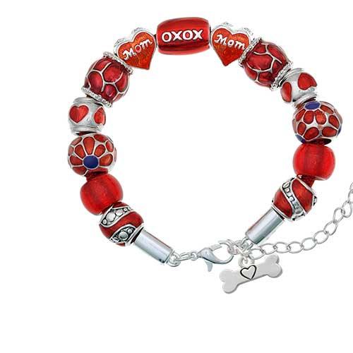 silvertone dog bone with heart red mom bead bracelet