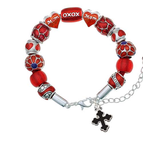 silvertone small black enamel botonee cross red mom bead bracelet