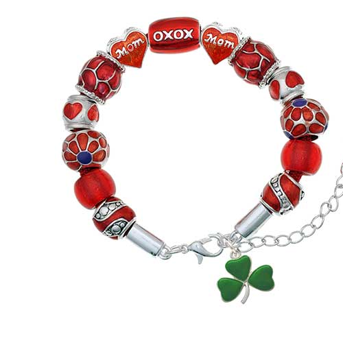 silvertone green three leaf clover - shamrock red mom bead bracelet