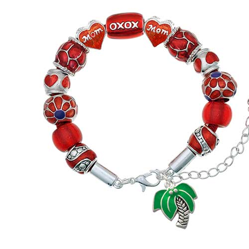 silvertone large palm tree red mom bead bracelet