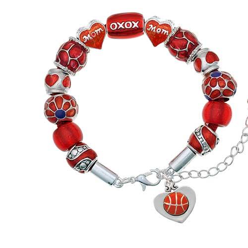 silvertone basketball in heart red mom bead bracelet