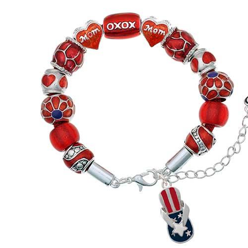 silvertone usa patriotic flip flop with white star red mom bead bracelet
