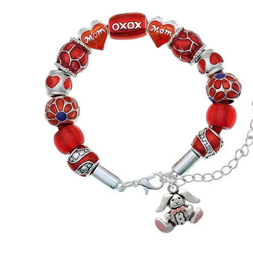 silvertone sitting bunny with easter egg red mom bead bracelet