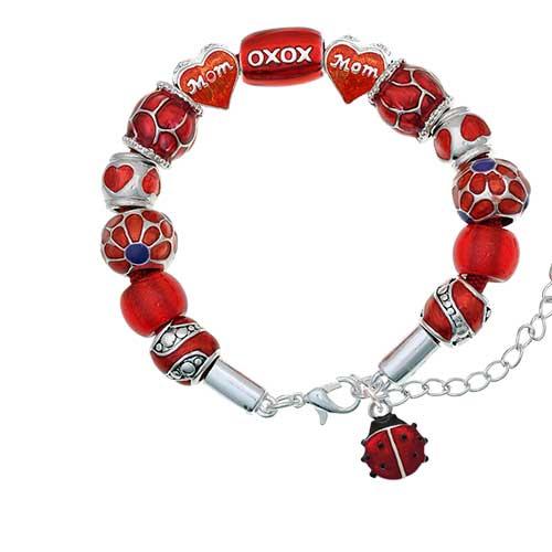 silvertone mini red translucent ladybug red mom bead bracelet