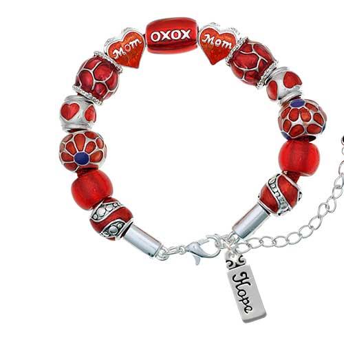 silvertone hope red mom bead bracelet