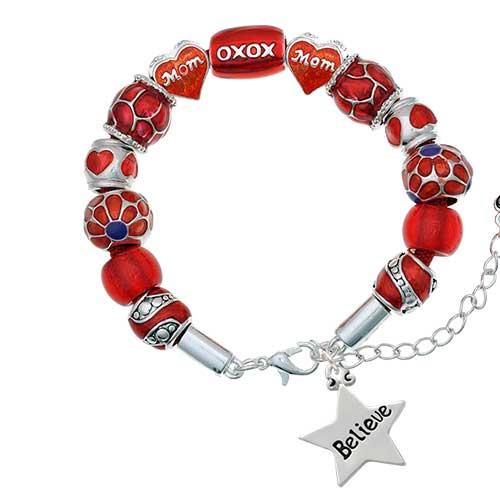silvertone believe star red mom bead bracelet