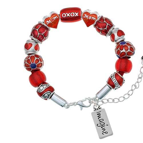 silvertone imagine red mom bead bracelet
