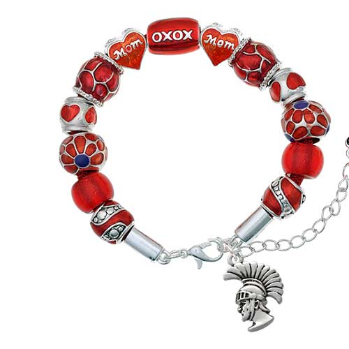 silvertone large trojan - mascot red mom bead bracelet
