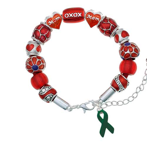 silvertone green ribbon red mom bead bracelet