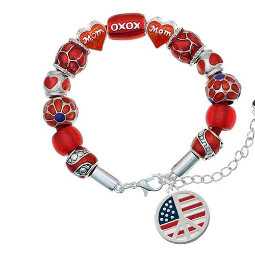silvertone large peace sign with usa flag red mom bead bracelet