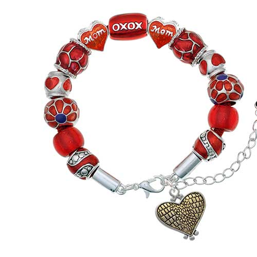 two-tone alligator print heart red mom bead bracelet